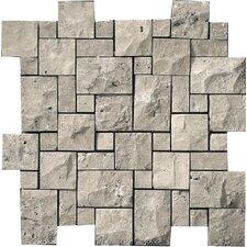 Natural Stone Random Sized Travertine Mini Versailles Mosaic in Silver
