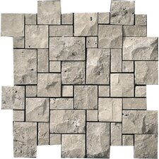 Natural Stone Random Sized Travertine Splitface Mosaic in Silver