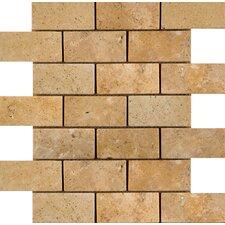 "Natural Stone 4"" x 2"" Travertine Offset Mosaic in Oro"