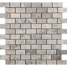 "Natural Stone 2"" x 1-1/4"" Travertine Rhomboid Mosaic in Silver"