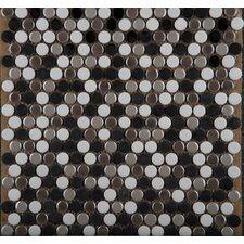 Confetti Glazed Porcelain Penny Round Mosaic in Gelido