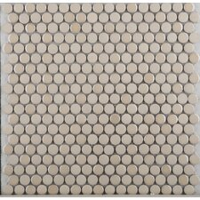 Confetti Porcelain Penny Round Mosaic in Cream