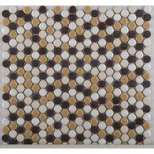 Confetti Porcelain Penny Round Mosaic in Caldo