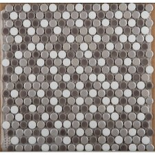 Confetti Glazed Porcelain Penny Round Mosaic in Freddo