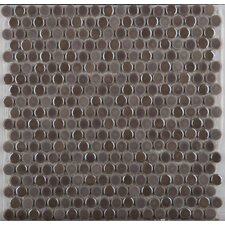 Confetti Glazed Porcelain Penny Round Mosaic in Pewter