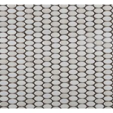 Confetti Porcelain Oval Round Mosaic in White