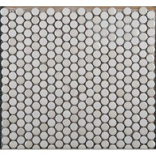 Confetti Porcelain Penny Round Mosaic in White