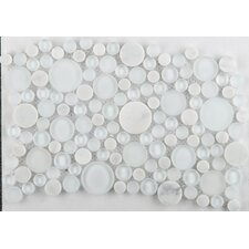 Lucente Random Sized Glass Frosted Mosaic Circle Blends in Ambrato