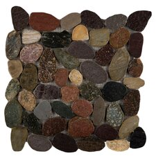 Rivera Random Sized Flat Pebble Mosaic in Natural