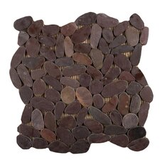 "Venetian 12"" x 12"" Pebble Mosaic in Chocolate"