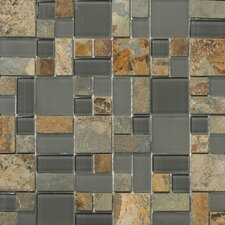 Lucente Random Sized Stone and Glass Mosaic Pattern Blend in Romano