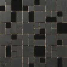 "Lucente 13"" x 13"" Stone and Glass Mosaic Pattern Blend in Zanfirico"
