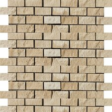 "<strong>Emser Tile</strong> Natural Stone 12"" x 12"" Travertine Split Face Brick-Joint Mosaic in Beige"