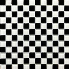 "Lucente 12"" x 12"" Glossy Glass Mosaic in Blanc / Noir Blend"