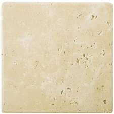 "Natural Stone 4"" x 4"" Tumbled Travertine in Ancient Beige"