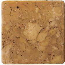 "Natural Stone 8"" x 8"" Tumbled Travertine Tile in Oro"
