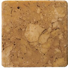 "Natural Stone 4"" x 4"" Tumbled Travertine Tile in Oro"