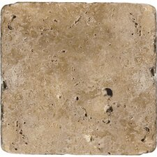 "Natural Stone 16"" x 16"" Tumbled Travertine Tile in Mocha"
