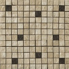 "Natural Stone 12"" x 12"" Tumbled Travertine Split Face Mosaic in Element Beige"