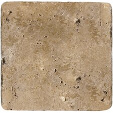 "<strong>Emser Tile</strong> Natural Stone 6"" x 6"" Tumbled Travertine Tile in Mocha"