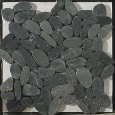 Natural Stone Flat Venetian Random Sized Marble Pebble Honed Mosaic in Graphite