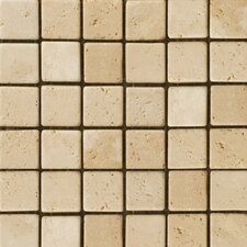 "Natural Stone 2"" x 2"" Cottage Tumbled  Travertine Mosaic in Ivory"
