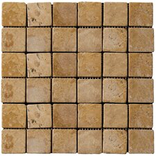 "Natural Stone 2"" x 2"" Travertine Mosaic in Oro"