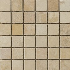 "Natural Stone 2"" x 2"" Vino Travertine Mosaic in Gold"