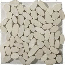 Natural Stone Flat Venetian Random Sized Marble Pebble Honed Mosaic in Ivory