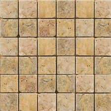 "Natural Stone 2"" x 2"" Cottage Tumbled Travertine Mosaic in Scabos"