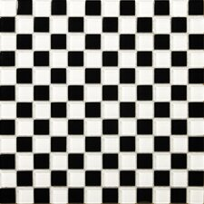 """Times Square 2"""" x 2"""" Porcelain Polished Mosaic in Black/White"""