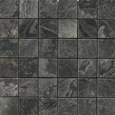 "Natural Stone 2"" x 2"" Honed Slate Mosaic in Silver Gray"