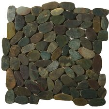 "Natural Stone 12"" x 12"" Flat Rivera Pebble Mosaic in Green"