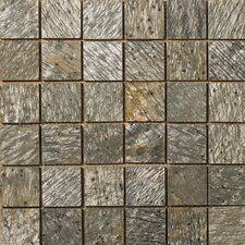 "Natural Stone 2"" x 2"" Honed Slate Mosaic in Golden Green"