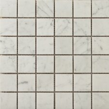 "Natural Stone 2"" x 2"" Honed Marble Mosaic in Bianco Gioia"