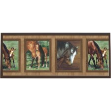 Mare and Foal Wall Painting Print on Plaque
