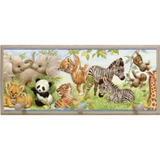 Jungle Pals Wall Plaque with Wooden Pegs