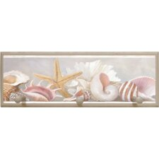 "Starfish and Shells Wall Art with Pegs - 7"" x 20.5"""