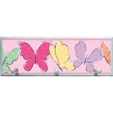 Butterflies Graphic Art on Plaque with Wooden Pegs