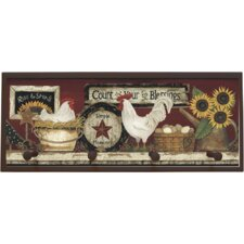 Hen and Rooster Painting Print on Plaque