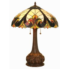 Tiffany Style Victorian Table Lamp with 18 Cabochons