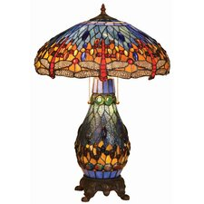 <strong>Chloe Lighting</strong> Tiffany Style Dragonfly Double Lit Table Lamp with 100 Cabochons