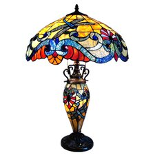 Tiffany Style Dragonfly Double Lit Table Lamp with 67 Cabochons