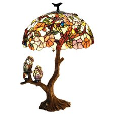 Tiffany Style Flowers and Birds Double Lit Table Lamp