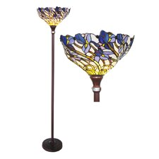 Tiffany Style Iris Torchiere Floor Lamp