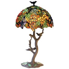 """Tiffany Leafs and Grapes 34"""" H Table Lamp with Bowl Shade"""