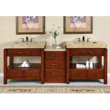 "<strong>Silkroad Exclusive</strong> Cameron 92"" Double Bathroom Vanity Set"