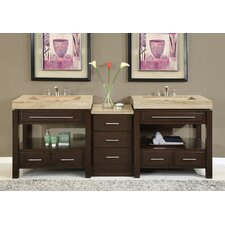 "<strong>Silkroad Exclusive</strong> Chester 92"" Double Bathroom Vanity Set"