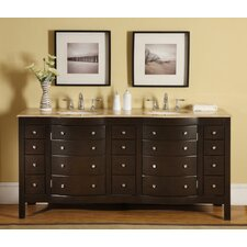 "<strong>Silkroad Exclusive</strong> Lancaster 72"" Double Bathroom Vanity Set"