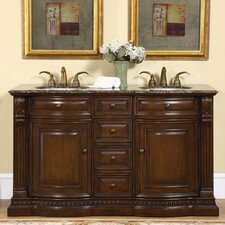 "<strong>Silkroad Exclusive</strong> Somerset 60"" Double Bathroom Vanity Set"